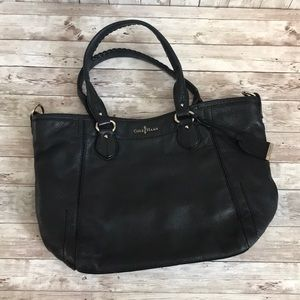 Cole Haan large black leather tote bag